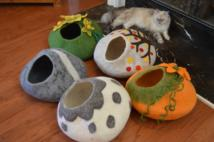 Felted Wool Cat Caves